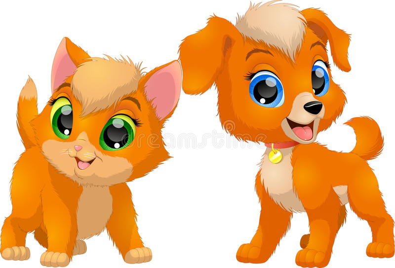 Kattunge och valp, vänner royaltyfri illustrationer