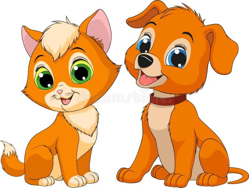Kattunge- och valpfriendsn vektor illustrationer
