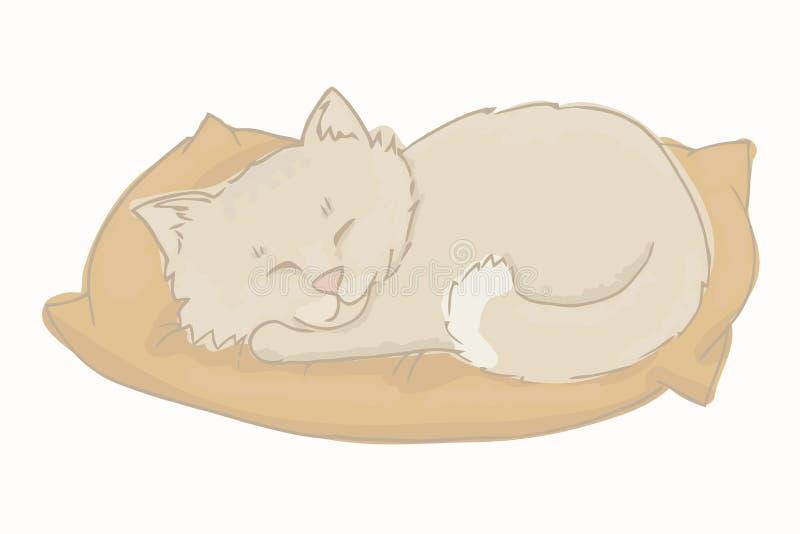 Kattungevektor Grå kattunge som sover på en kudde royaltyfri illustrationer
