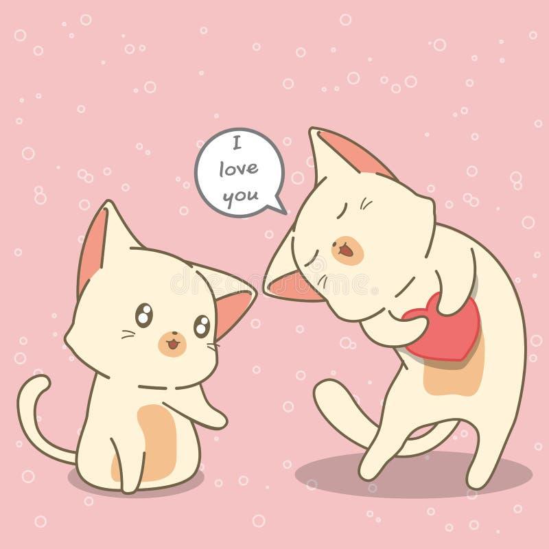 Kattvänner berättar älskar sig stock illustrationer