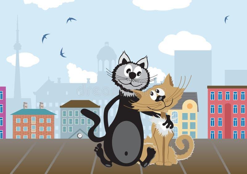 kattvänner två stock illustrationer