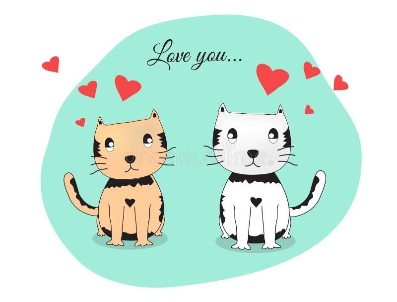 Kattvänvektor, kattpar stock illustrationer