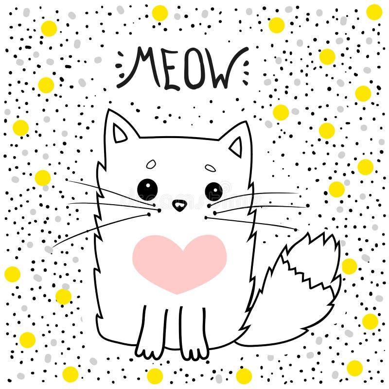Kattvektorn jamar, T-tröjatrycket, mig älskar dig, för valentin` s dag, den djura teckningen, barnillustrationen för skolböcker o stock illustrationer