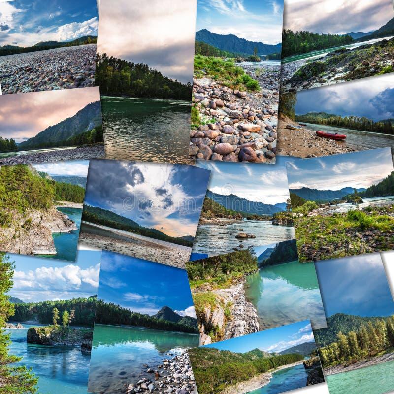 Katun河在阿尔泰共和国 拼贴画 免版税库存照片