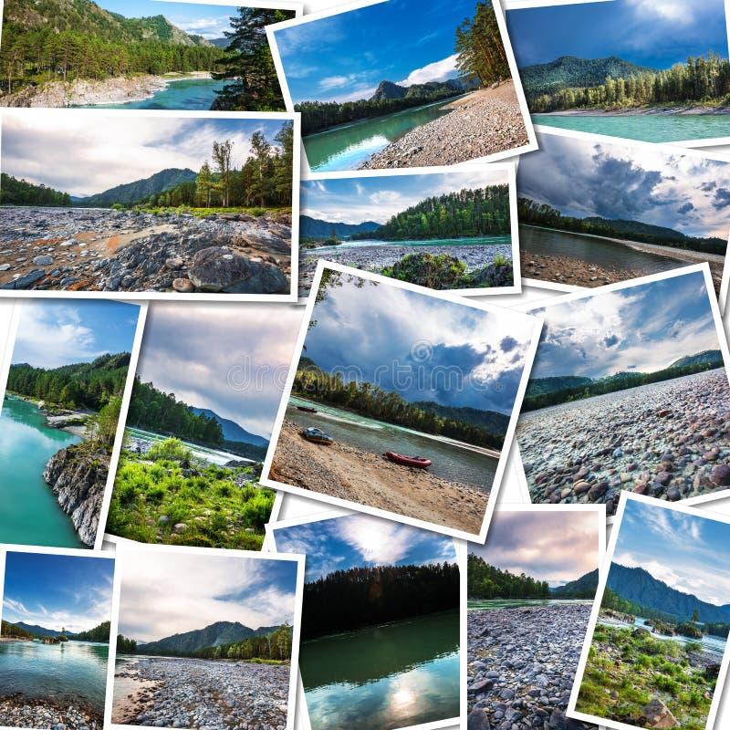 Katun河在阿尔泰共和国 拼贴画 免版税库存图片