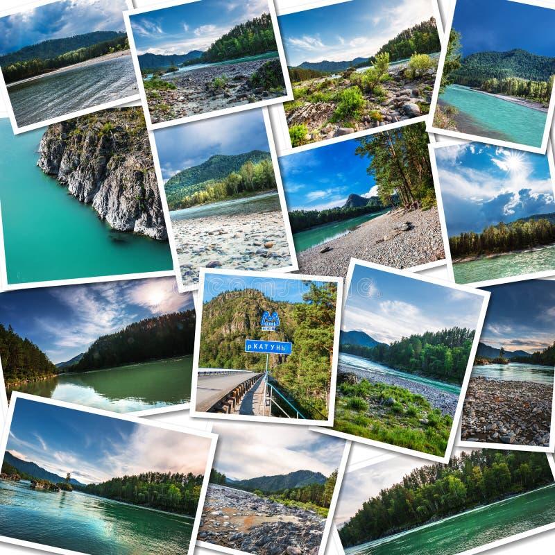 Katun河在阿尔泰共和国 拼贴画 库存照片