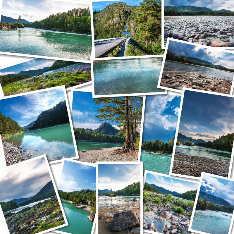 Katun河在阿尔泰共和国 拼贴画 免版税图库摄影