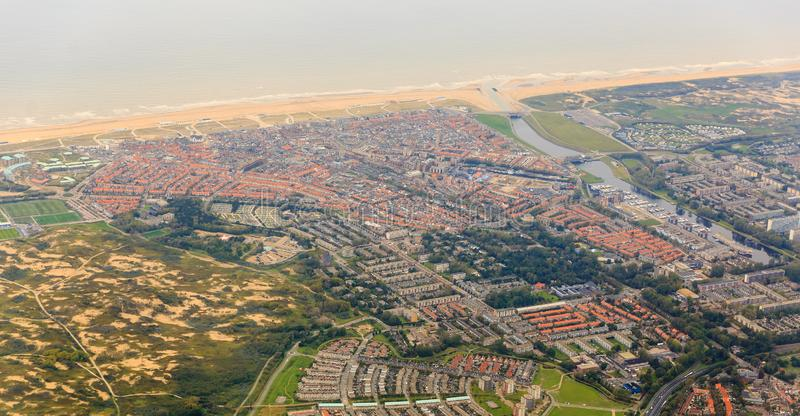 Katwijk aerial cityscape royalty free stock photography