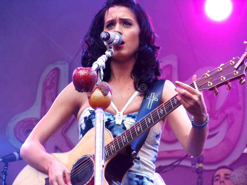 Katy Perry Playing the Guitar stock photo