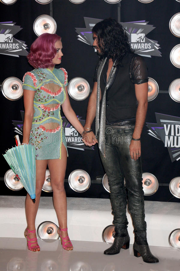 Katy Perry, Russell Brand royalty free stock photography