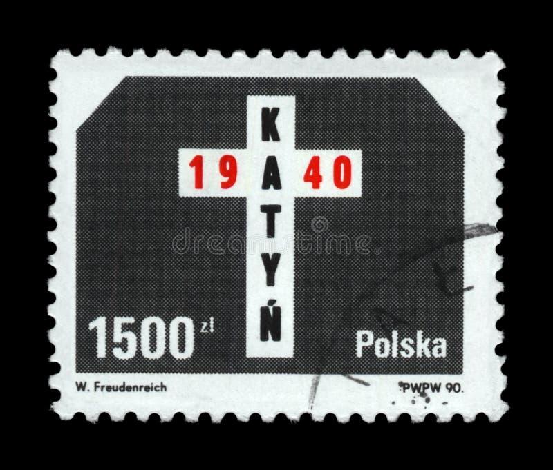 Katyn masakry lasowy pomnik, 50th rocznica, Polska, około 1990, zdjęcie royalty free