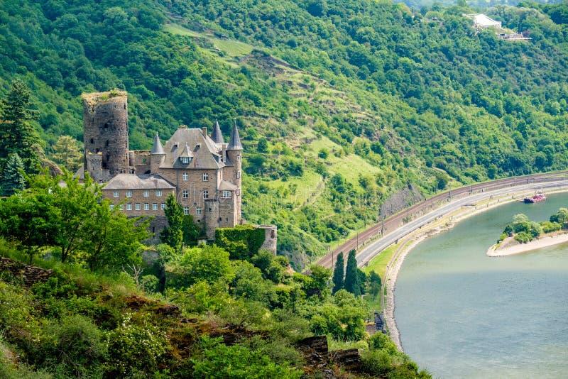 Katz Castle alla valle del Reno vicino alla st Goarshausen, Germania fotografie stock