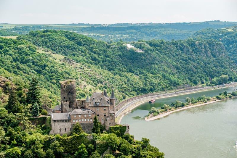 Katz Castle alla valle del Reno vicino alla st Goarshausen, Germania fotografia stock libera da diritti