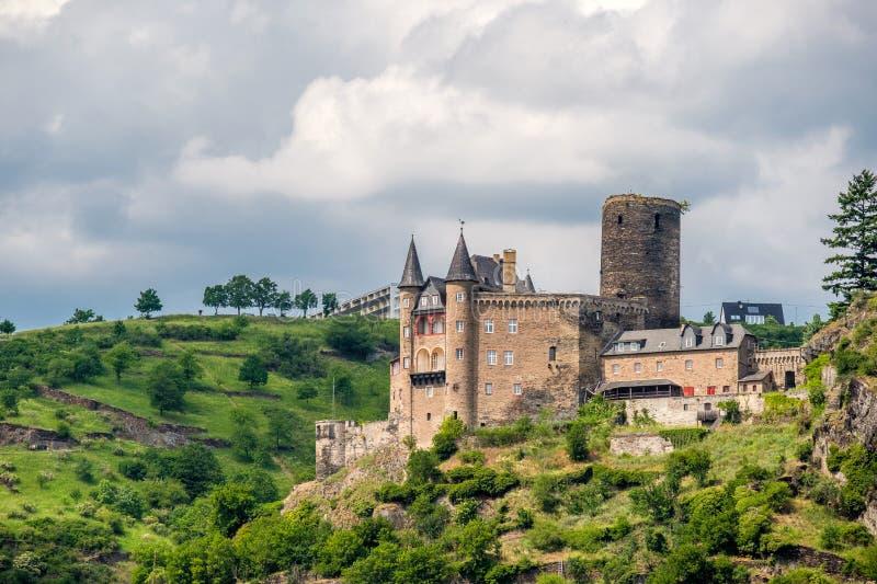 Katz Castle alla valle del Reno vicino alla st Goarshausen, Germania immagine stock