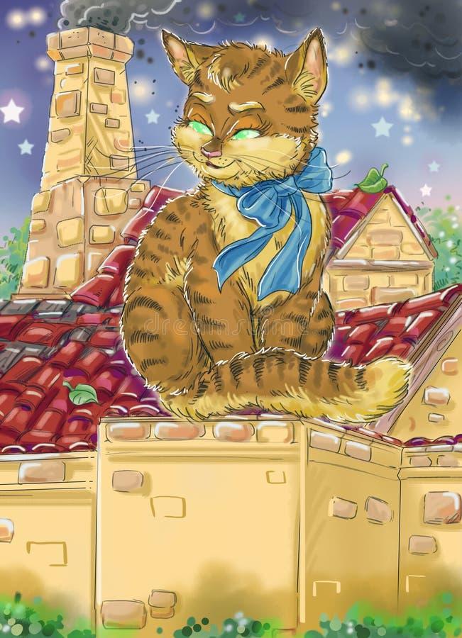 Katze auf Dach stock abbildung