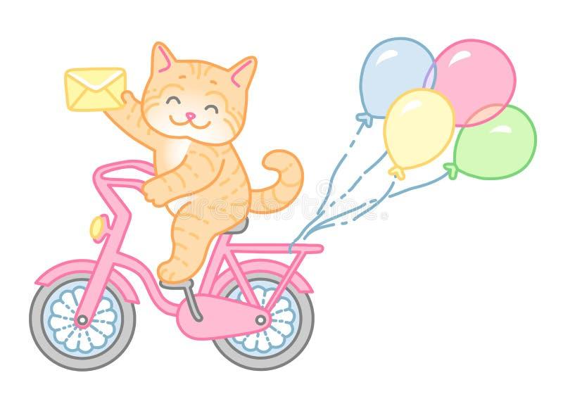 Katze auf Fahrrad stock abbildung