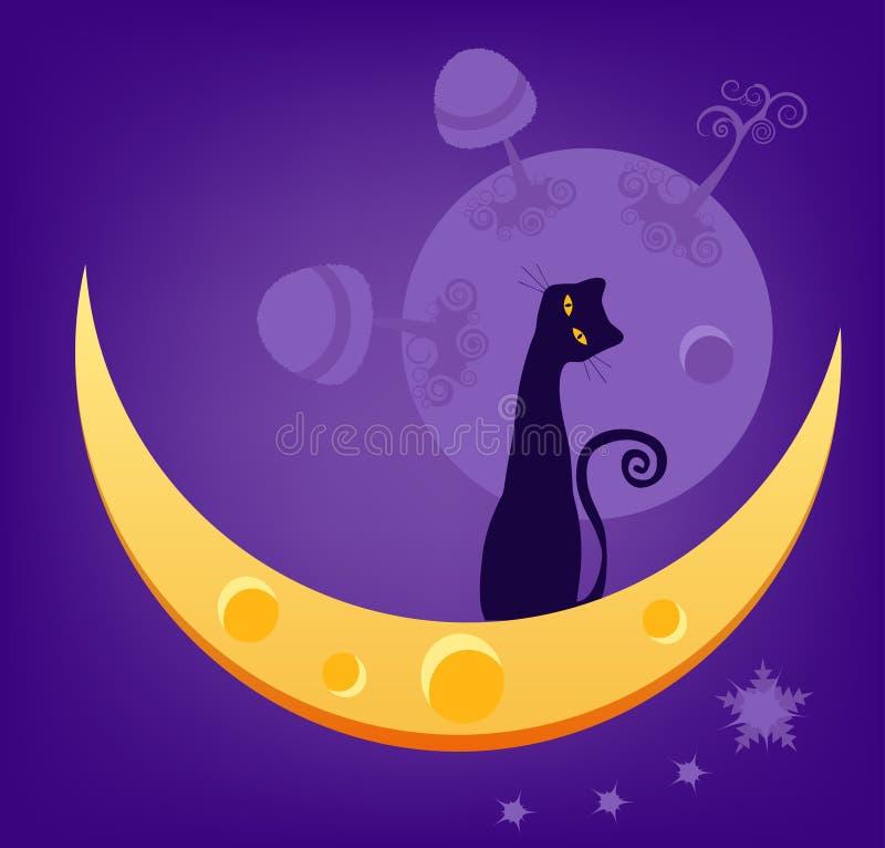 Katze auf Mond stock abbildung