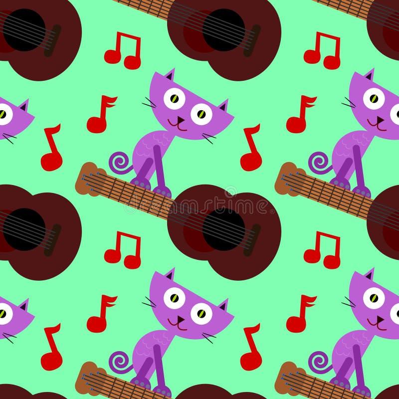 Katze auf nahtlosem Hintergrunddesign der Gitarre stock abbildung