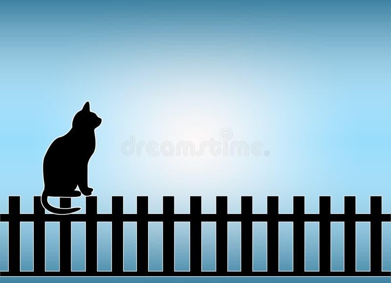 Katze auf Zaun lizenzfreie abbildung