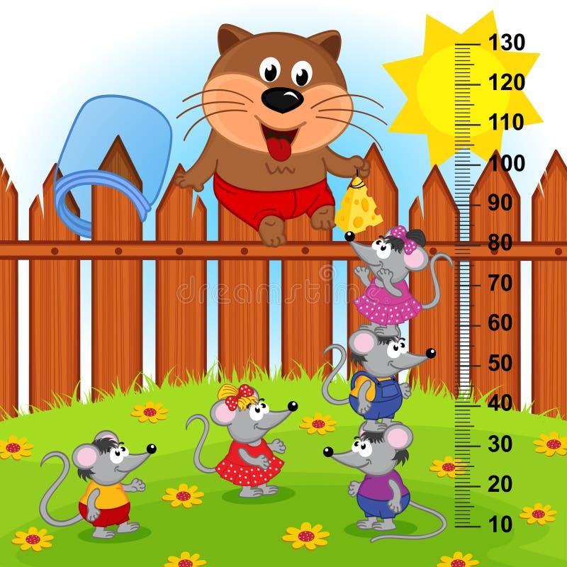 Katze auf Zaunhöhenmaß (in der Vorlage proportioniert 1 bis 4) lizenzfreie abbildung