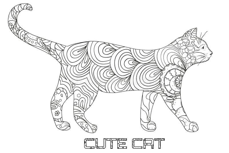 Katze design zentangle vektor abbildung illustration von for Animali da colorare per adulti