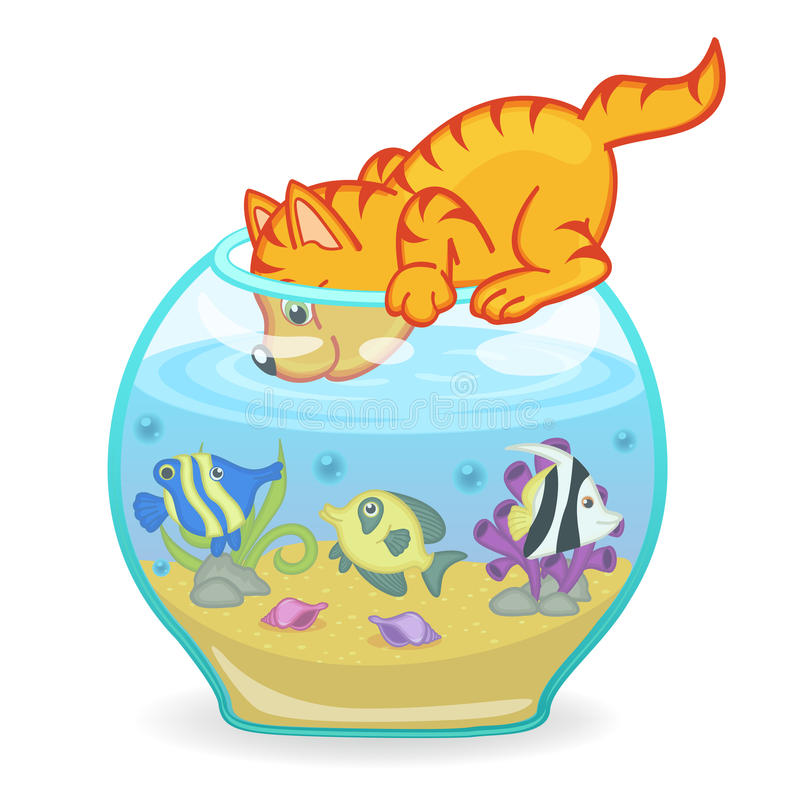 Katze, die das Aquarium mit Fischen untersucht vektor abbildung