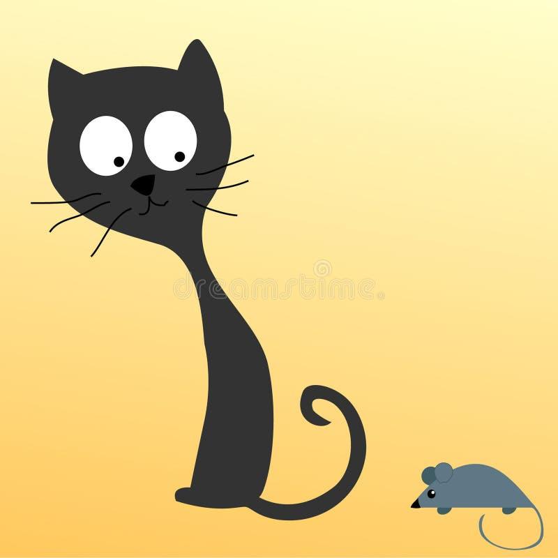 Katze, die eine Maus überwacht vektor abbildung