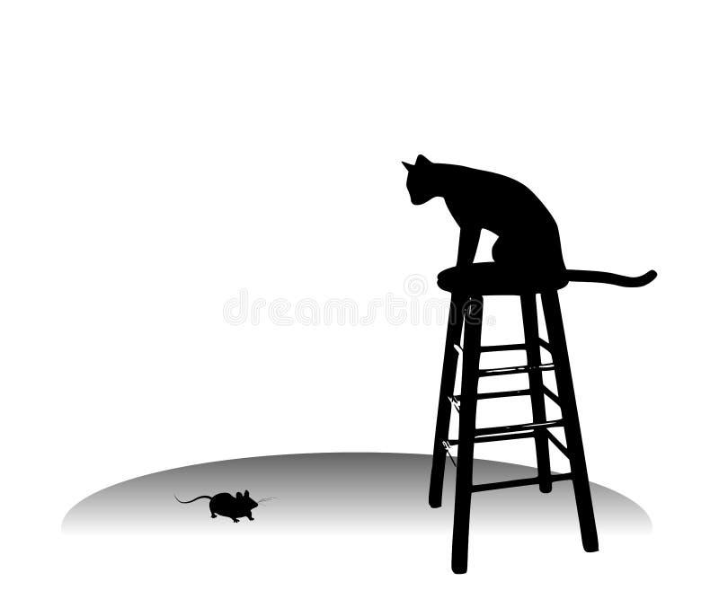 Katze, die eine Maus auf Schemel überwacht lizenzfreie abbildung
