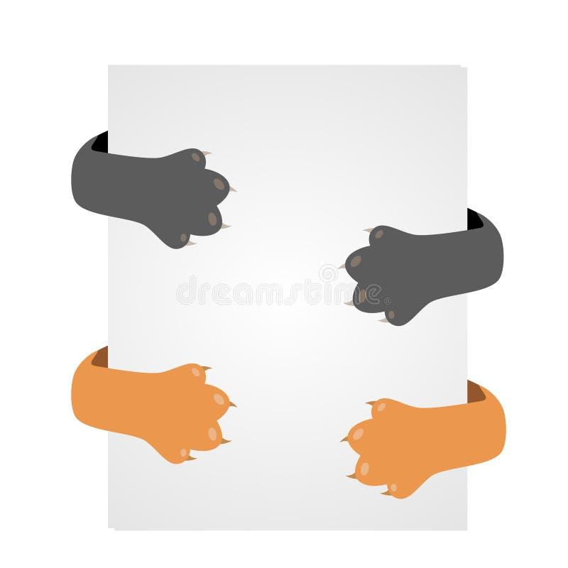 Katze, die hinter einem Plakat, orange Tatzen und grauen einer Kätzchenholding sich versteckt lizenzfreie abbildung