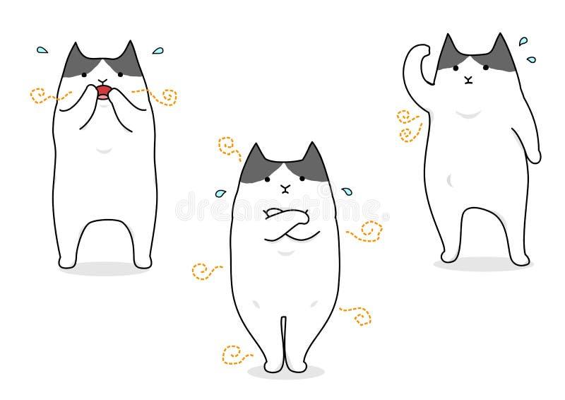 Katze, die mit Körpergeruch leidet lizenzfreie abbildung