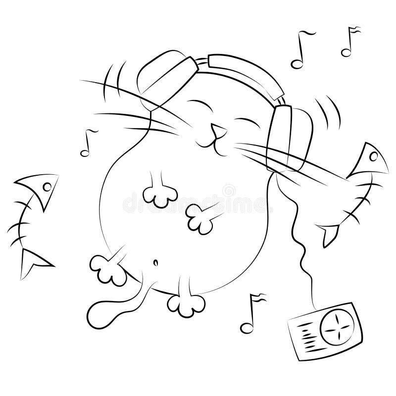 Katze, die Musik hört. Abbildung lizenzfreie abbildung