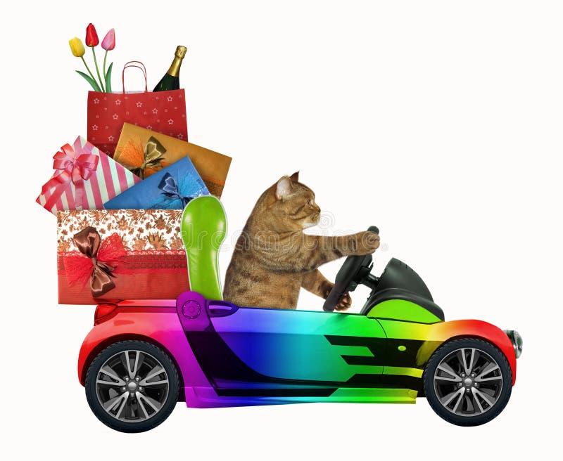 Katze fährt ein Auto mit Weihnachtsspielwaren 2 stockfotografie