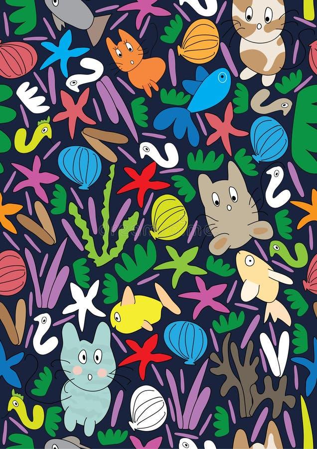 Katze-Fisch-Seenahtloses Muster lizenzfreie abbildung