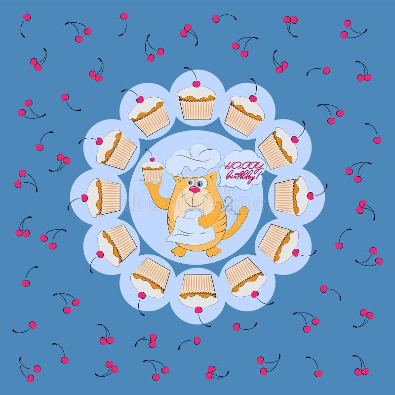 Katze ist ein Konditor mit kleinen Kuchen und Kirschen Alles Gute zum Geburtstag! vektor abbildung