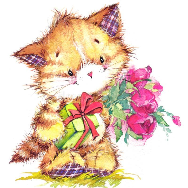 Katze Kinderhintergrund für feiern Festival und Geburtstagsfeier watercolor stock abbildung