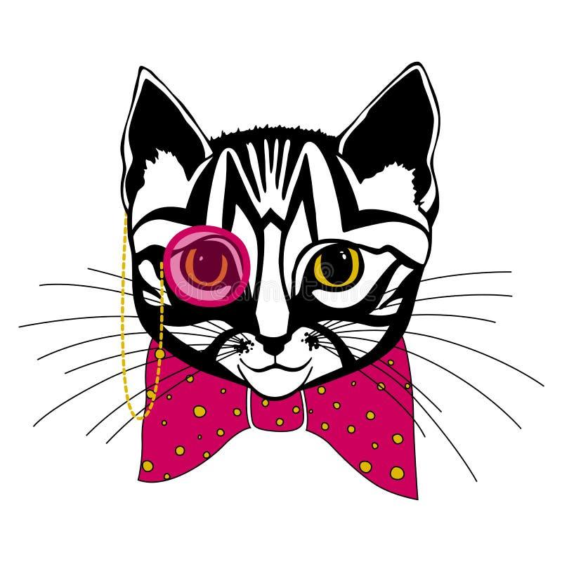 Katze mit einem Bogen lizenzfreie abbildung
