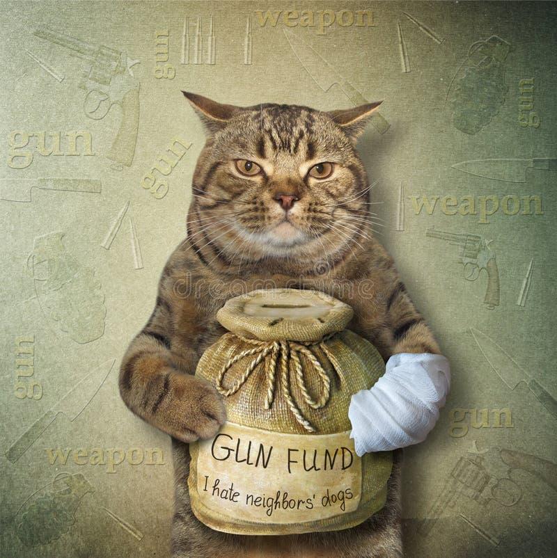 Katze mit einem Geldkasten für Gewehr 2 lizenzfreie stockfotos
