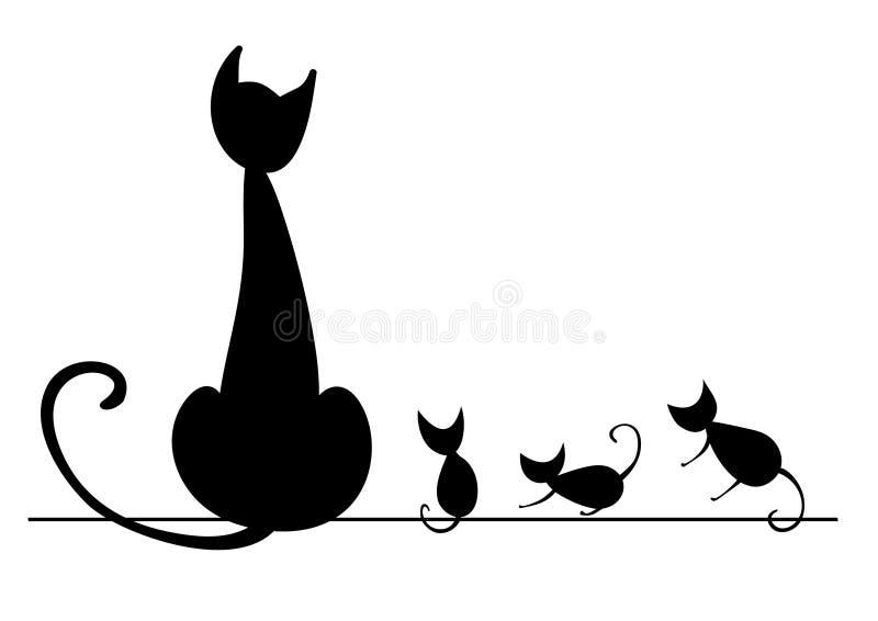 Katze mit Kätzchen lizenzfreie abbildung