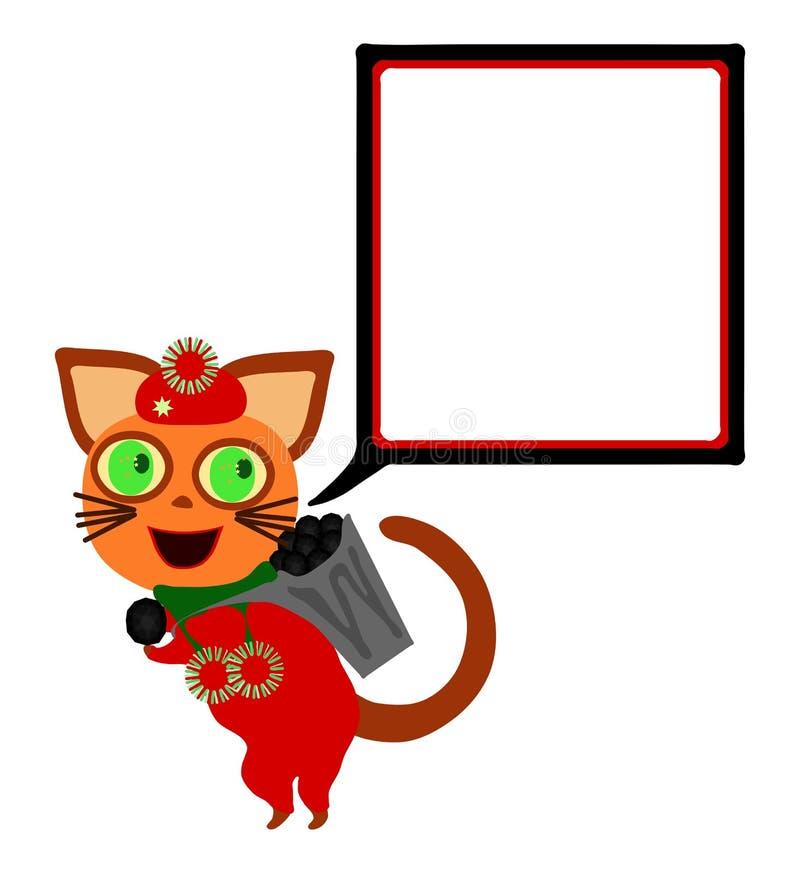Katze mit quadratischer Kommunikationsblase trägt Hod mit Kohle vektor abbildung