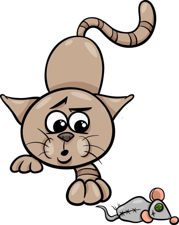 Katze mit Spielzeugmäusekarikaturillustration vektor abbildung