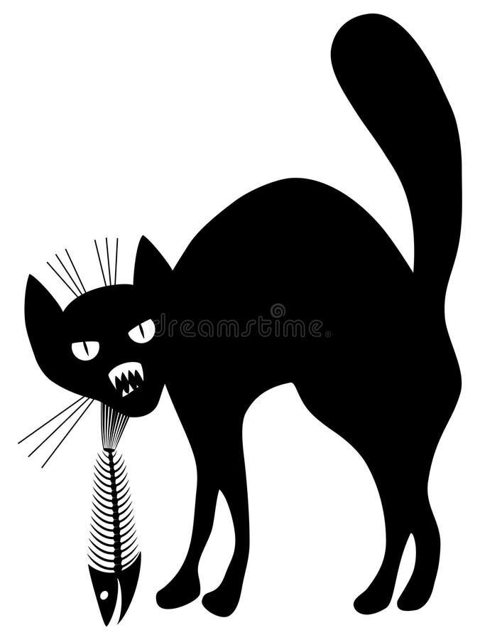 Katze- und Fischskelett. stock abbildung