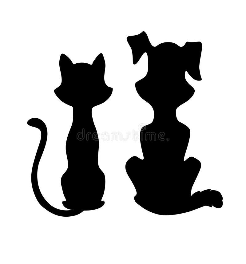 Katze- und Hundeschattenbild lizenzfreie abbildung