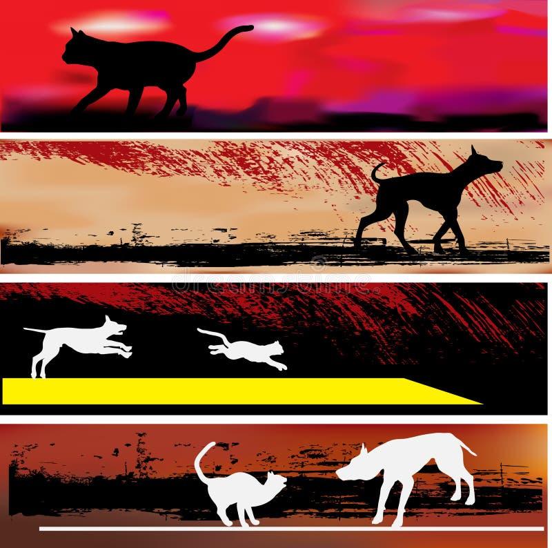 Katze-und Hundeweb-Fahnen-Schablonen stock abbildung