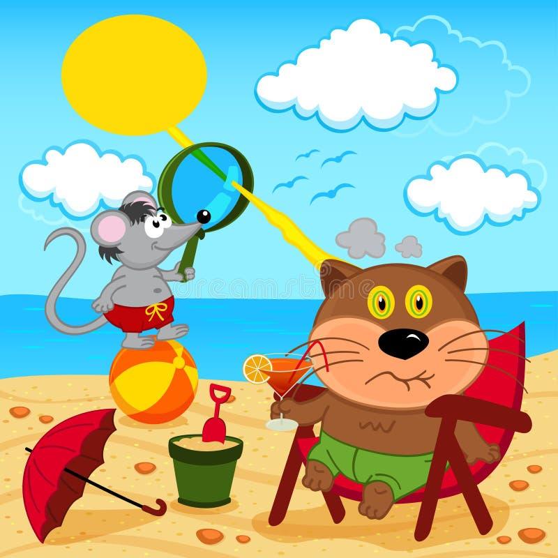 Katze und Maus täuschen herum mit auf Strand vektor abbildung