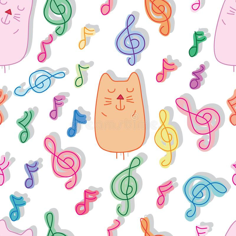 Katze und nahtloses Muster des Musikschlafes stock abbildung