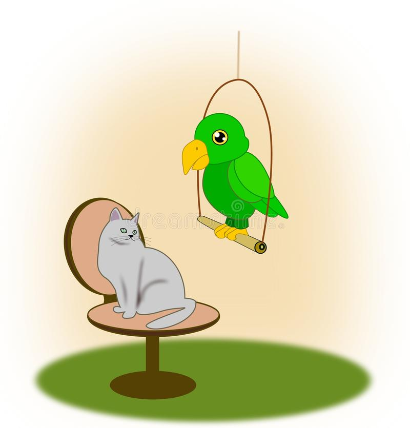 Katze und Papagei stock abbildung