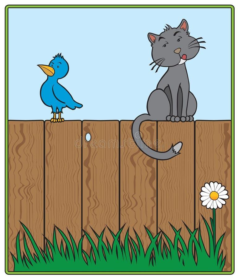 Katze und Vogel auf Zaun lizenzfreie abbildung