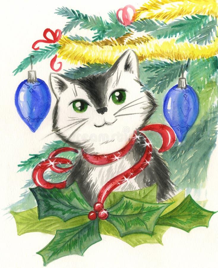 Katze- Und Weihnachtsdekorationen Lizenzfreie Stockfotos