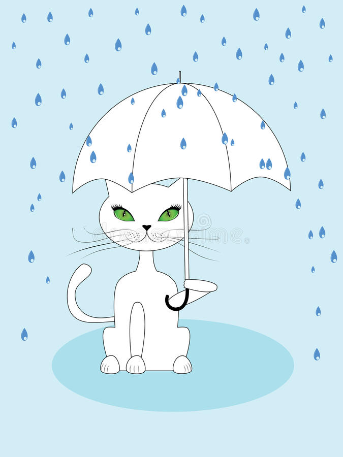 Katze unter Regen lizenzfreie abbildung