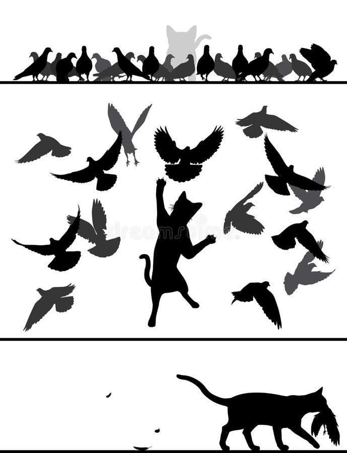 Katze unter Tauben stock abbildung